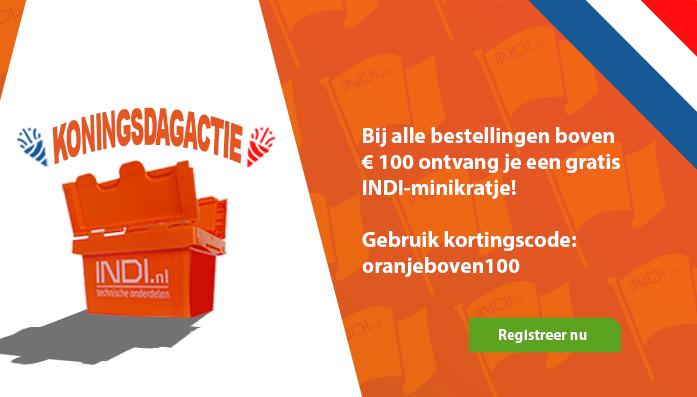 Registreer en bestel voor 100 euro en ontvang een INDI-minikratje gratis met code 'oranjeboven100'